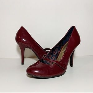 Maroon Faux Patent Leather Mary Jane Heels